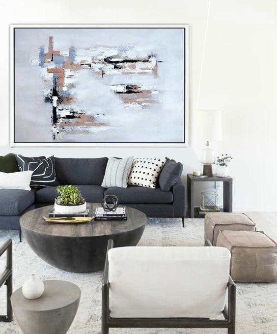 Modern Art Museum,Large Contemporary Art Acrylic Painting,Oversized Horizontal Contemporary Art,Hand-Painted Canvas Art,White,Grey,Beige.etc
