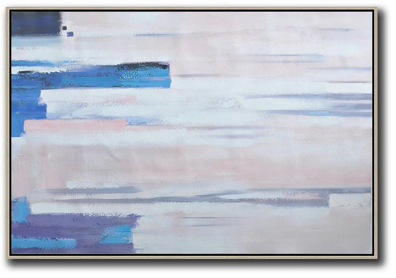 Abstract Oil Art,Oversized Wall Decor,Oversized Horizontal Contemporary Art,Art Work,White,Pink,Blue,Purple.etc