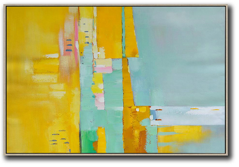 Giclee Art,Abstract Painting Extra Large Canvas Art,Oversized Horizontal Contemporary Art,Big Art Canvas,Yellow,White,Light Green,Pink.etc