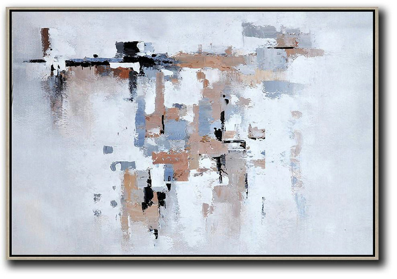 Abstract Gallery,Handmade Large Contemporary Art,Oversized Horizontal Abstract Art,White,Grey,Beige.etc