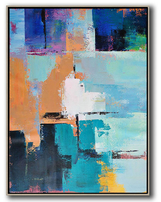 Artist Canvas For Sale,Hand Paint Abstract Painting,Vertical Palette Knife Contemporary Art,Big Art Canvas,White,Earthy Yellow,Blue,Black,Lake Blue.etc
