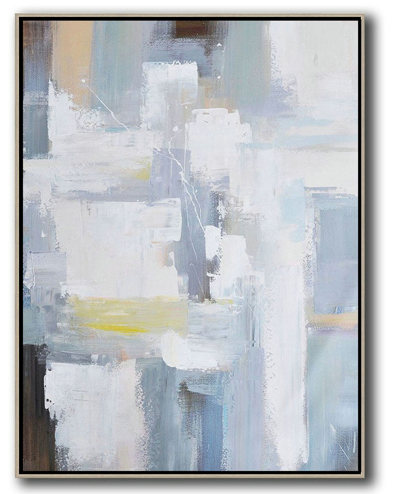 Contemporary Landscape Art,Handmade Large Painting,Vertical Palette Knife Contemporary Art,Large Canvas Wall Art For Sale,White,Grey,Brown,Yellow.etc