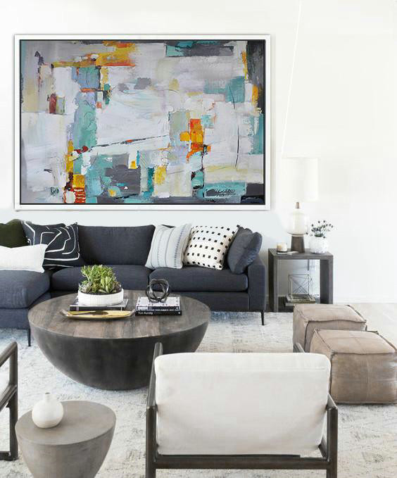 Art Shop Online,Original Abstract Oil Paintings,Oversized Horizontal Contemporary Art,Large Canvas Art,Modern Art Abstract Painting,White,Grey,Lake Blue,Yellow.etc
