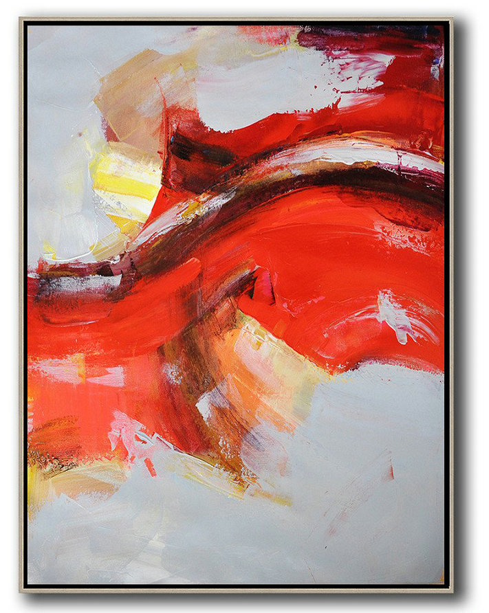 Watercolor Artists,Big Painting,Vertical Palette Knife Contemporary Art,Big Canvas Painting,Grey,Red,Yellow.etc