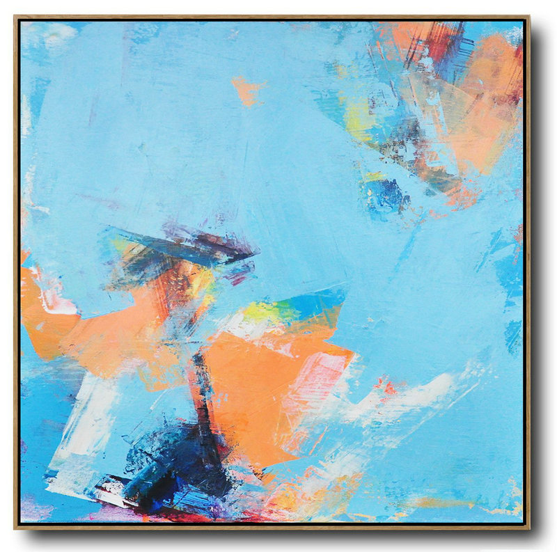 Large Canvas To Paint On,Large Abstract Art,Palette Knife Contemporary Art Canvas Painting,Oversized Wall Decor,Sky Blue,Orange,Yellow,White.etc
