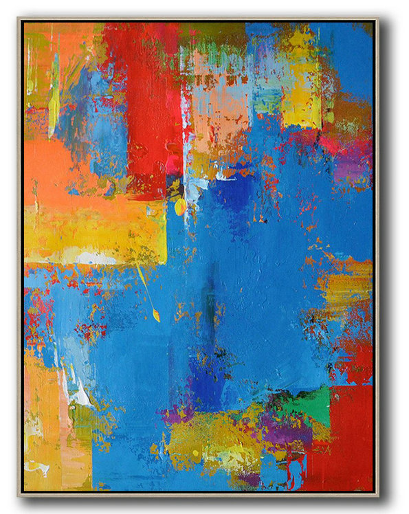 Abstract Wall Decor,Huge Abstract Canvas Art,Vertical Palette Knife Contemporary Art,Acrylic Painting Large Wall Art,Blue,Red,Yellow.etc