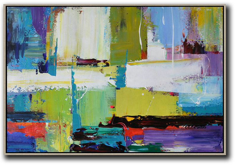 Abstract Art Styles,Abstract Painting Extra Large Canvas Art,Horizontal Palette Knife Contemporary Art,Original Abstract Art Paintings,Yellow,White,Blue,Purple.etc