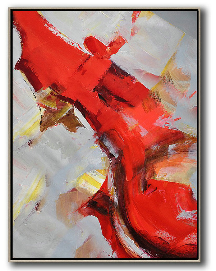 Contemporary Prints,Extra Large Canvas Art,Vertical Palette Knife Contemporary Art,Acrylic Painting Large Wall Art,Red,Grey,White,Brown.etc