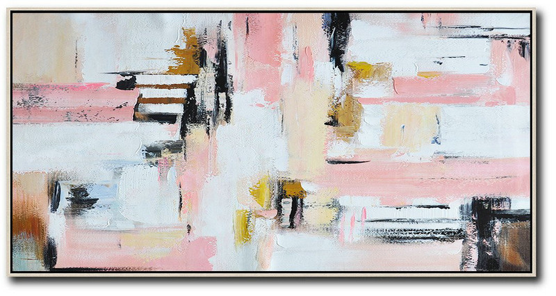 Scenery Painting,Hand Made Abstract Art,Horizontal Palette Knife Contemporary Art,Canvas Painting Wall Decor,White,Pink,Light Yellow.etc