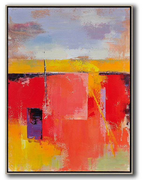 Fine Art Gallery,Abstract Art Decor,Contemporary Painting,Vertical Palette Knife Contemporary Art,Huge Canvas Art On Canvas,Purple,Grey,Yellow,Red.etc