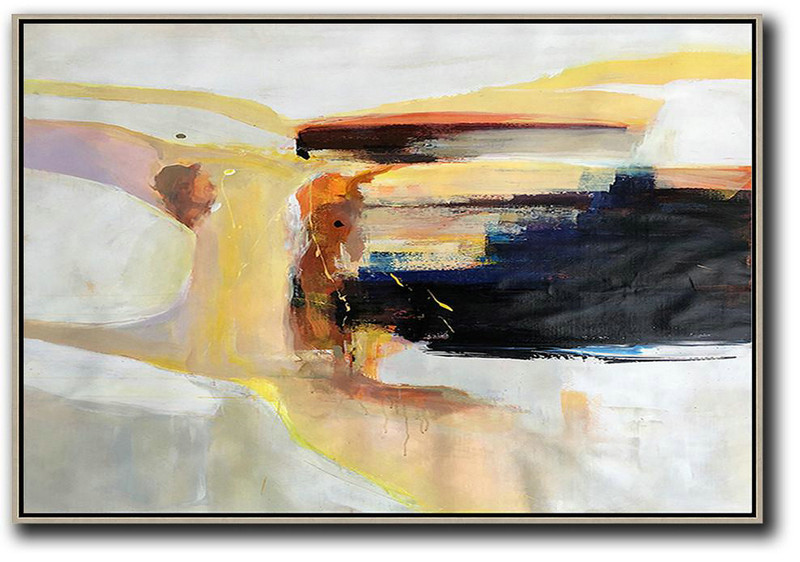 Abstract Art Artists Names,Extra Large Textured Painting On Canvas,Horizontal Palette Knife Contemporary Art,Xl Large Canvas Art,Grey,Yellow,Black,White.etc