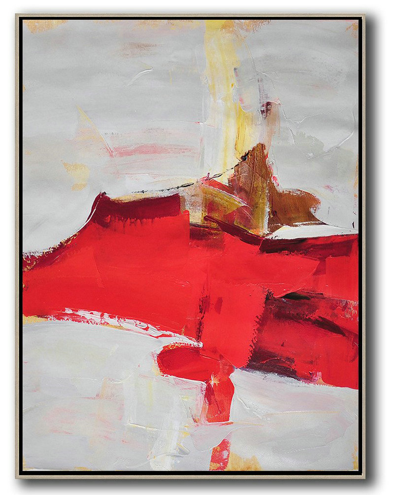 Amazing Abstract Art,Hand-Painted Contemporary Art,Vertical Palette Knife Contemporary Art,Large Wall Canvas,Grey,Red,Brown.etc
