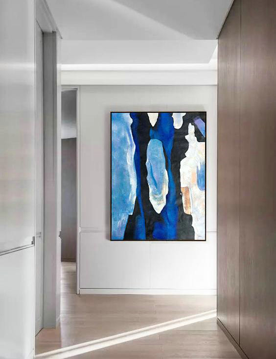 Grey Abstract Painting,Hand Made Abstract Art,Hand Painted Large Vertical Contemporary Painting On Canvas,Abstract Painting Modern Art,Black,Blue,White,Yellow.etc