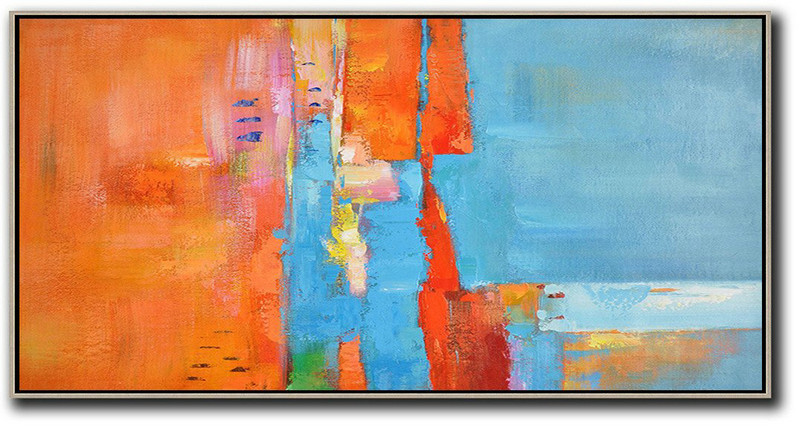 Canvas Painting,Abstract Painting Extra Large Canvas Art,Horizontal Palette Knife Contemporary Art,Large Abstract Art Handmade Acrylic Painting,Orange,Sky Blue,White,Red.etc