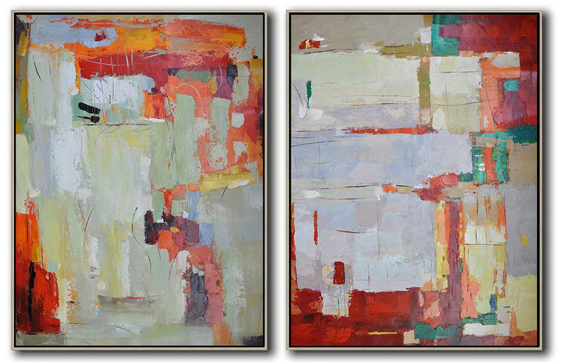 Fine Art Abstract Paintings,Handmade Large Contemporary Art,Set Of 2 Contemporary Art On Canvas,Living Room Canvas Art,Red,Grey,Orange,Green.etc