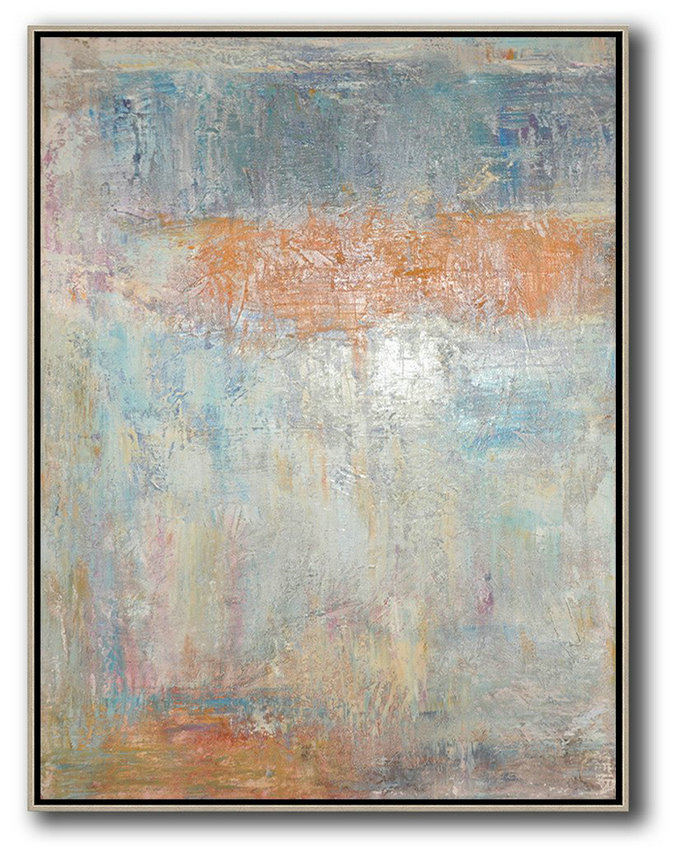 Classical Art,Hand Painted Aclylic Painting On Canvas,Vertical Palette Knife Contemporary Art,Living Room Canvas Art,Grey,Orange,Blue.etc