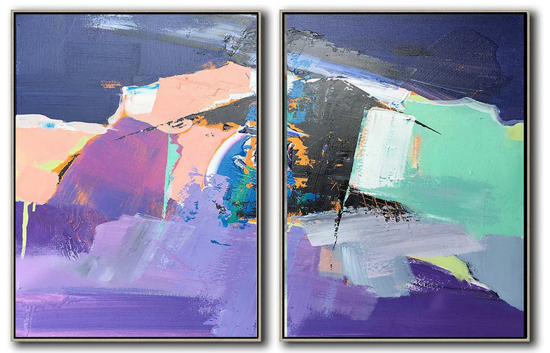Abstract Art Shop,Large Abstract Art Handmade Painting,Set Of 2 Contemporary Art On Canvas,Modern Paintings On Canvas,Purple,Black,Grey,Pink,Dark Blue.etc