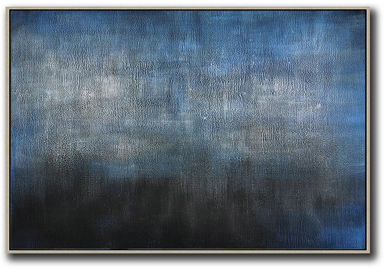 Abstract Canvas,Extra Large Acrylic Painting On Canvas,Oversized Horizontal Contemporary Art,Extra Large Canvas Painting,Dark Blue,Grey,Black.etc