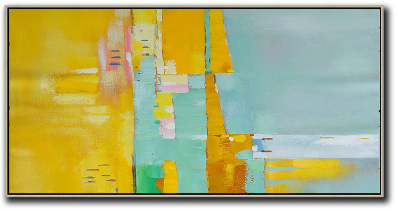 Purchase Art Online,Handmade Large Contemporary Art,Horizontal Palette Knife Contemporary Art,Unique Canvas Art,Yellow,Light Green,White,Pink.etc