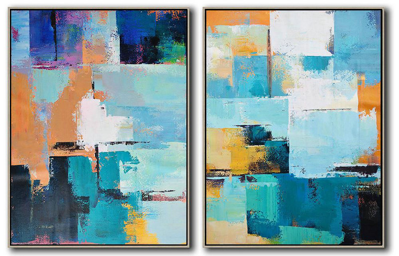 "Abstract Artwork Paintings,Extra Large 72"" Acrylic Painting,Set Of 2 Contemporary Art On Canvas,Size Extra Large Abstract Art,White,Dark Blue,Earthy Yellow,Black.etc"