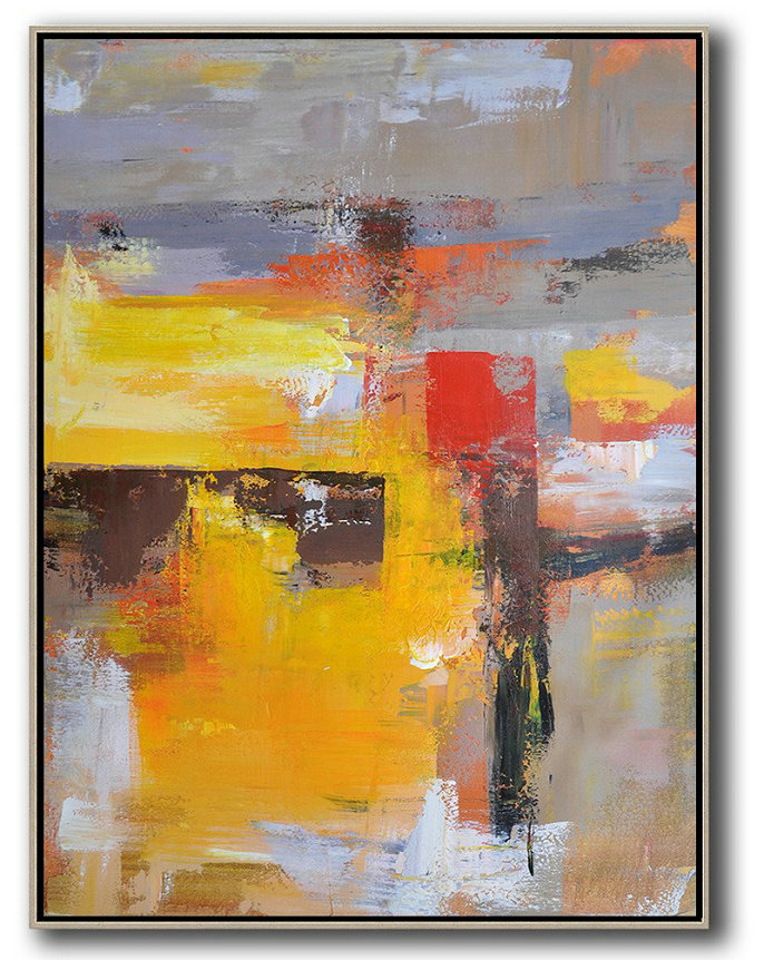 Very Large Paintings,Hand Painted Acrylic Painting,Vertical Palette Knife Contemporary Art,Big Painting,Yellow,Red,Purple,Grey.etc