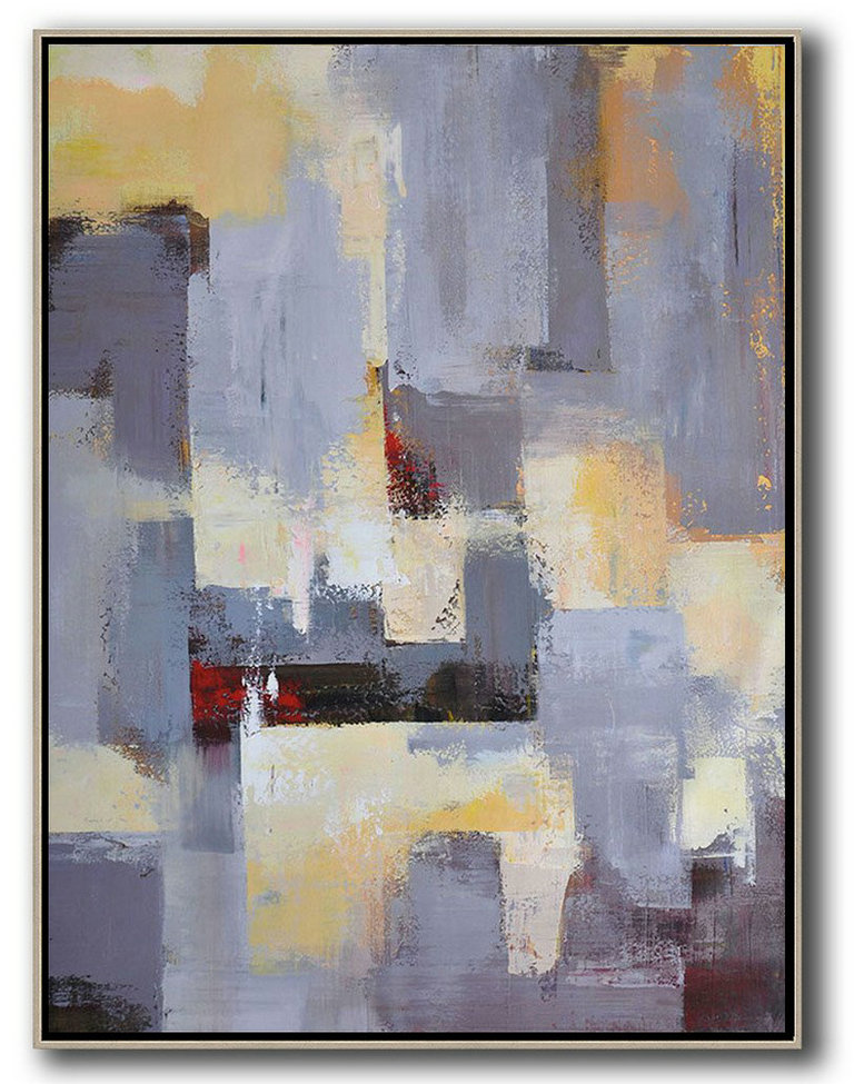 Abstract Art Online,Acrylic Painting Wall Art,Vertical Palette Knife Contemporary Art,Living Room Wall Art,Grey,Yellow,Red.etc