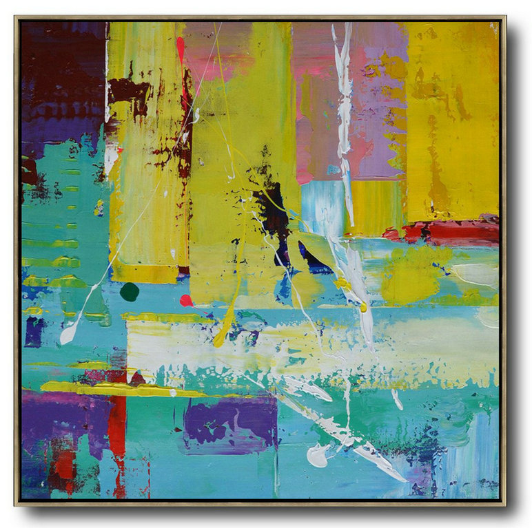 Where To Buy Abstract Art,Extra Large Acrylic Painting On Canvas,Oversized Palette Knife Painting Contemporary Art On Canvas,Modern Art Abstract Painting,Lake Blue,Purple,Yellow,Red.etc