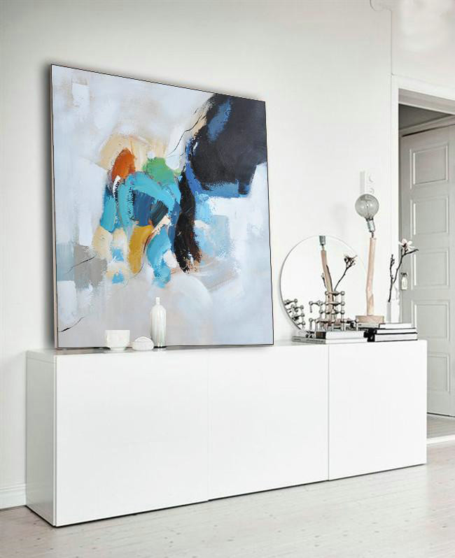 Abstract Artwork,Abstract Painting Extra Large Canvas Art,Oversized Contemporary Art,Modern Art Abstract Painting,Black,White,Sky Blue,Green,Yellow.etc