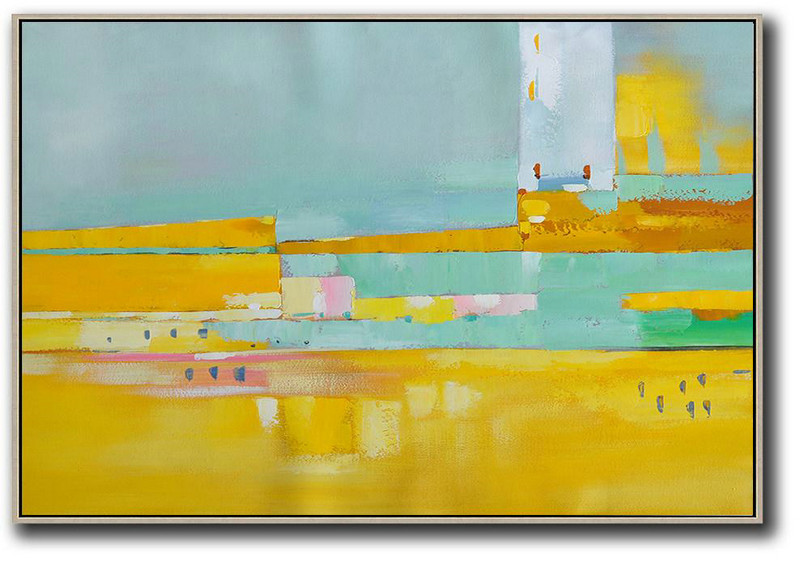 Modern Paintings,Large Abstract Art,Oversized Horizontal Contemporary Art,Extra Large Paintings,Yellow,White,Light Green,Pink.etc