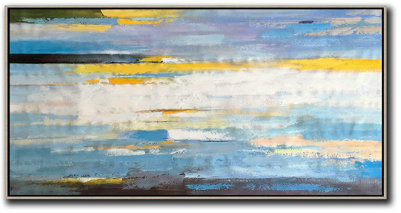 Student Art For Sale,Original Abstract Painting Extra Large Canvas Art,Horizontal Palette Knife Contemporary Art,Modern Paintings On Canvas,White,Yellow,Blue,Black.etc