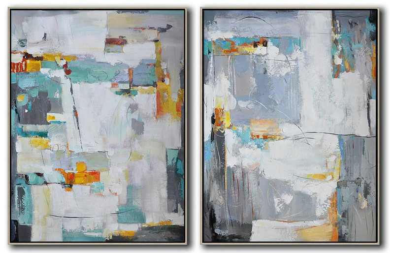 Fine Art Reproductions,Large Abstract Painting On Canvas,Set Of 2 Contemporary Art On Canvas,Big Art Canvas,White,Grey,Yellow.etc