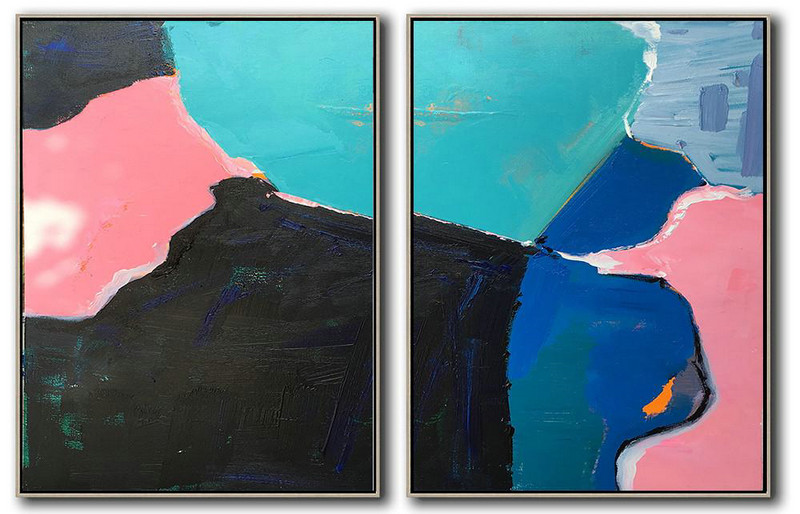 Art Projects,Large Abstract Wall Art,Set Of 2 Contemporary Art On Canvas,Hand-Painted Canvas Art,Pink,Black,Blue,White.etc
