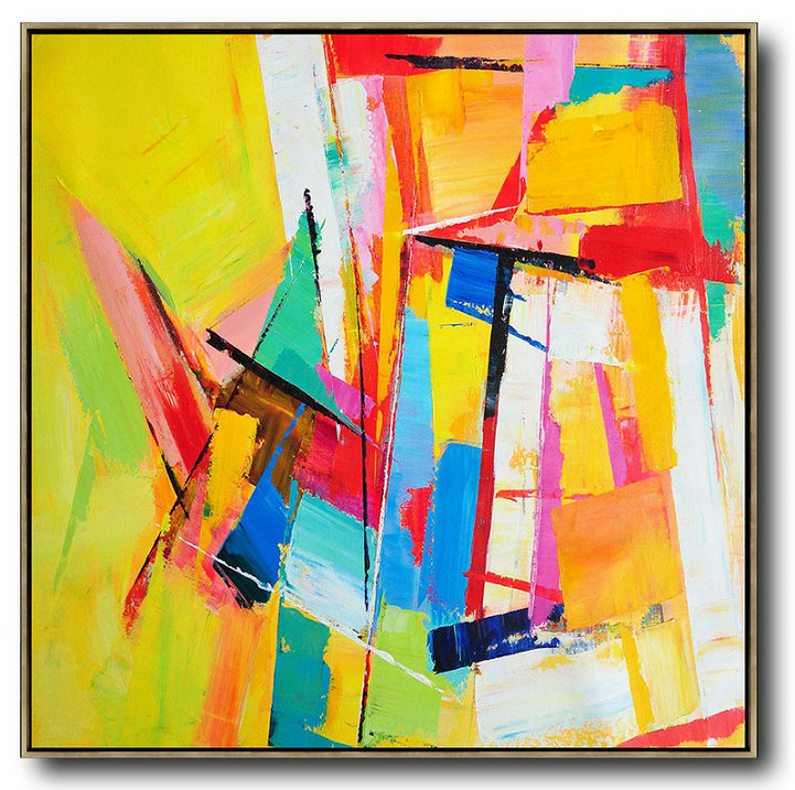 Contemporary Landscape Artists,Extra Large Painting,Oversized Palette Knife Painting Contemporary Art On Canvas,Hand Painted Canvas Art,Yellow,Blue,Red,Pink,Light Green.etc
