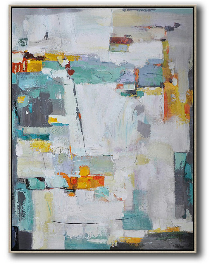 Contemporary Art For Sale Online,Oversized Canvas Art On Canvas,Vertical Palette Knife Contemporary Art,Original Art Acrylic Painting,Grey,Yellow,Purple,Grass Green,White.etc