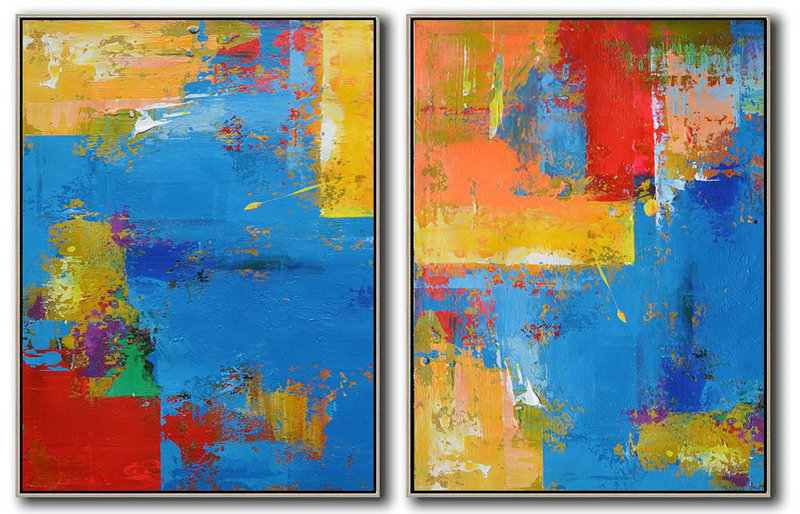 Abstract Works Of Art,Large Modern Abstract Painting,Set Of 2 Contemporary Art On Canvas,Large Wall Canvas,Blue,Red,Yellow.etc