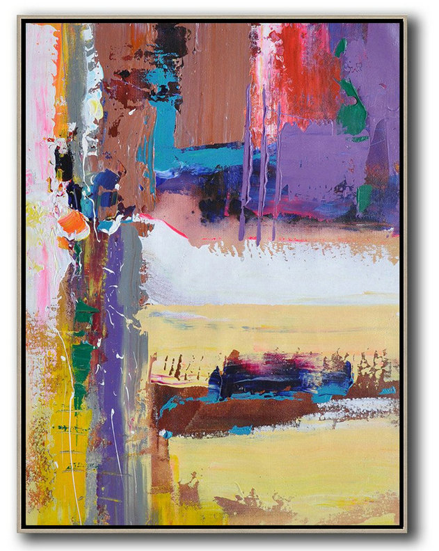 Modern Canvas,Abstract Painting Extra Large Canvas Art,Vertical Palette Knife Contemporary Art,Huge Abstract Canvas Art,Purle,Yellow,White,Brown,Red,Blue.etc