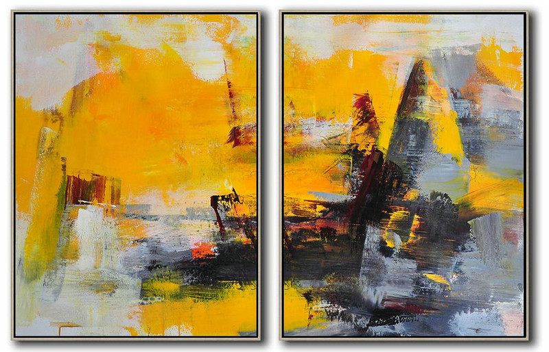 Large Abstract Paintings For Sale,Handmade Large Contemporary Art,Set Of 2 Contemporary Art On Canvas,Large Contemporary Painting,Yellow,Grey,Black.etc
