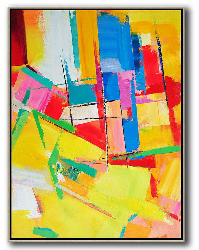 Best Abstract Painters,Vertical Palette Knife Contemporary Art,Large Wall Art Home Decor,Yellow,Red,Blue,Purple.etc