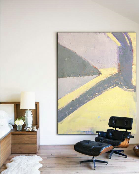 White And Gold Abstract Art,Hand-Painted Canvas Art,Vertical Palette Knife Contemporary Art,Canvas Artwork For Sale,Purple,Yellow,Grey.etc