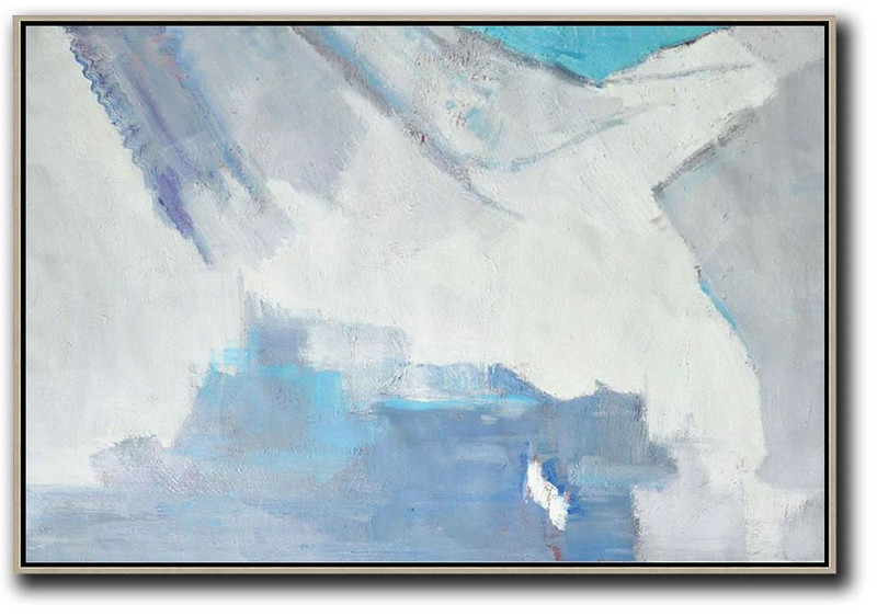 Art Painting Modern,Modern Living Room Decor,Oversized Horizontal Contemporary Art,Contemporary Art Acrylic Painting,White,Grey,Blue.etc