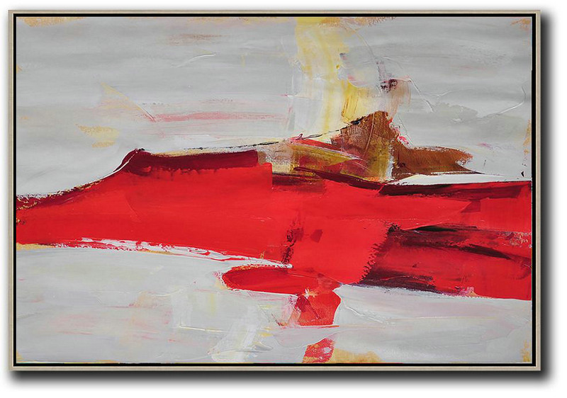 Large Abstract Painting,Hand Painted Extra Large Abstract Painting,Horizontal Palette Knife Contemporary Art,Custom Oil Painting,Red,Grey,Yellow.etc
