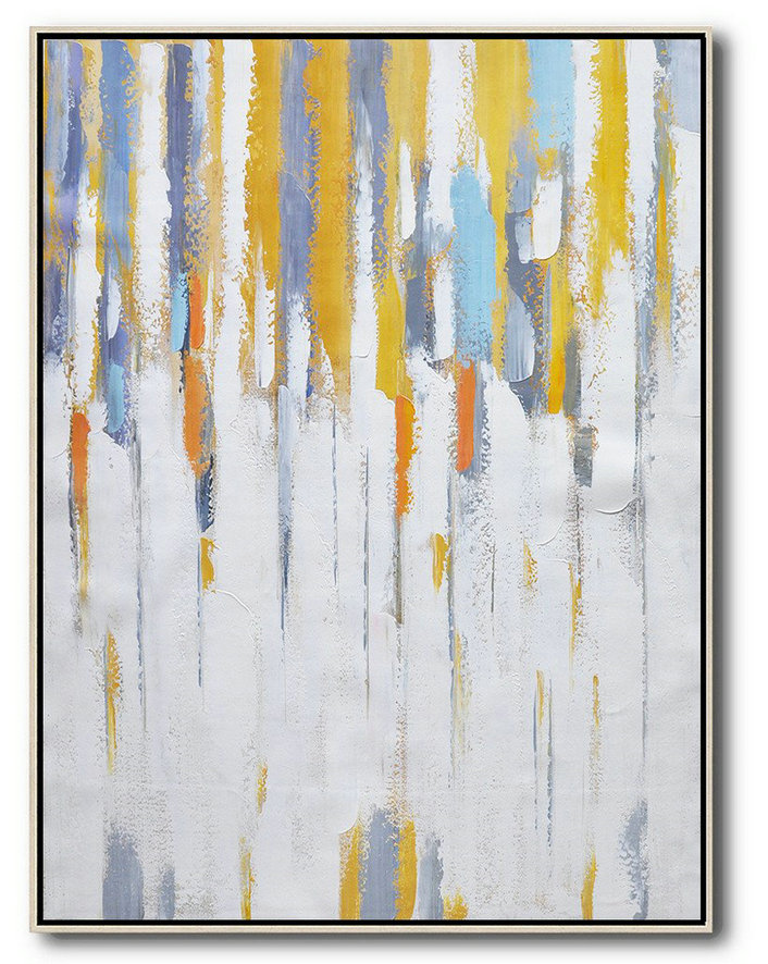 Abstract Art Black,Large Canvas Art,Vertical Palette Knife Contemporary Art,Huge Abstract Canvas Art,White,Yellow,Violet Ash,Grey.etc