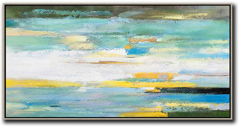 Fine Art Artists,Original Artwork Extra Large Abstract Painting,Horizontal Palette Knife Contemporary Art,Large Oil Canvas Art,White,Yellow,Blue,Light Green,Black.etc