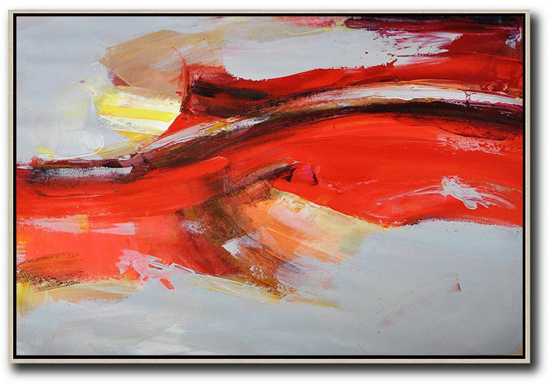 Large Black And White Canvas Art,Large Abstract Art,Horizontal Palette Knife Contemporary Art,Contemporary Canvas Paintings,Red,Grey,Yellow.etc