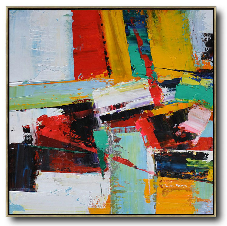 Original Abstract Art For Sale,Large Abstract Art,Oversized Palette Knife Painting Contemporary Art On Canvas,Modern Abstract Wall Art,Grass Green,Red,Yellow,Black.etc
