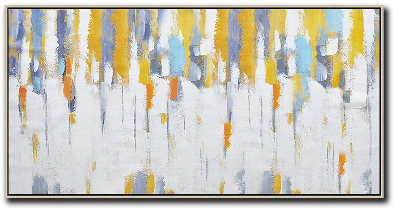 Large Painting Canvas,Extra Large Acrylic Painting On Canvas,Horizontal Palette Knife Contemporary Art,Large Wall Canvas Paintings,White,Grey,Yellow.etc