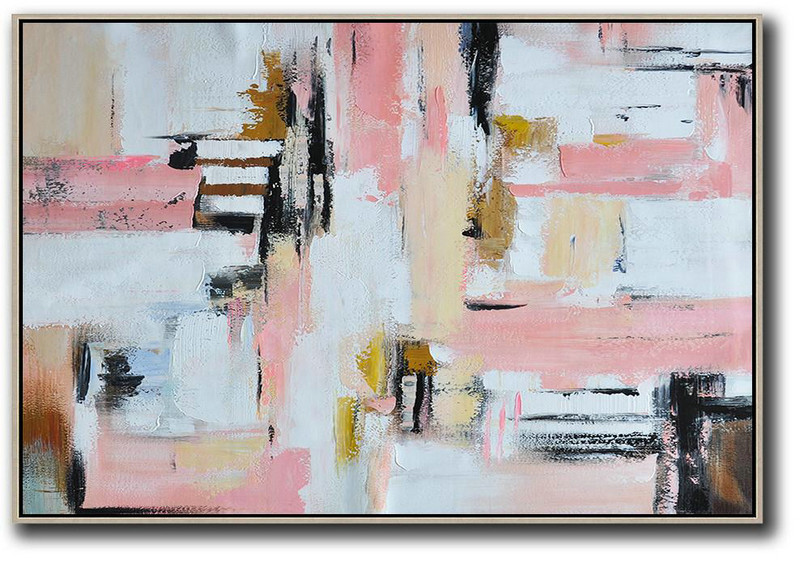White And Black Abstract Paintings,Original Abstract Painting Extra Large Canvas Art,Oversized Horizontal Contemporary Art,Huge Abstract Canvas Art,White,Pink,Light Yellow,Black,Brown.etc