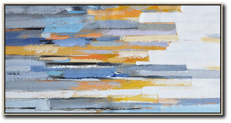 Abstract Art Paintings,Abstract Painting Extra Large Canvas Art,Horizontal Palette Knife Contemporary Art,Acrylic Painting Large Wall Art,White,Blue,Orange,Yellow.etc