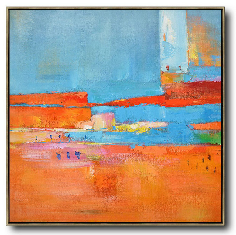 "Colorful Abstract Art,Extra Large 72"" Acrylic Painting,Oversized Contemporary Art,Contemporary Canvas Paintings,Red,Blue,Orange,Yellow,Pink.etc"