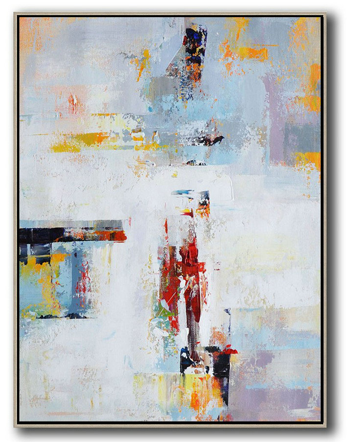 Large Painted Canvas Art,Hand Paint Large Clean Modern Art,Vertical Palette Knife Contemporary Art,Oversized Custom Canvas Art,White,Grey,Red,Yellow.etc